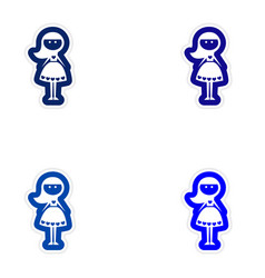 Set of paper stickers on white background friend vector