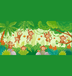 set with monkey in various poses on jungle vector image