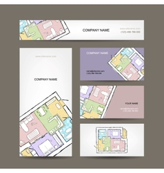Sketch of apartment Business cards for your design vector image