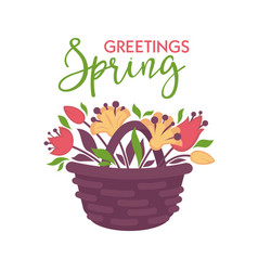 Spring greeting card with basket of flowers vector