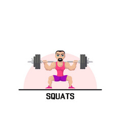 Strong man doing squats vector