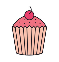 sweet cupcake with cherry vector image