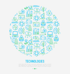 technologies concept in circle vector image