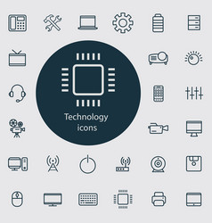 technology outline thin flat digital icon set vector image