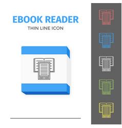 Thin lined ebook reader vector