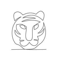tiger one line drawing on white vector image