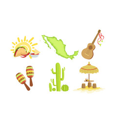 traditional cultural mexico symbols set maracas vector image