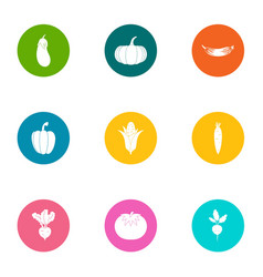 tropical vegetable icons set flat style vector image