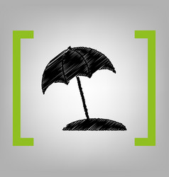 umbrella and sun lounger sign black vector image