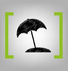 umbrella and sun lounger sign black vector image