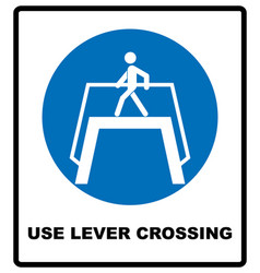 use level crossing sign blue mandatory symbol vector image