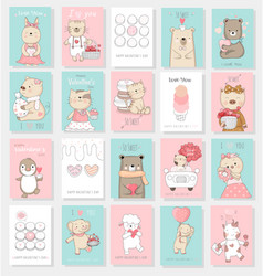 Valentines day background with cute baby animal vector