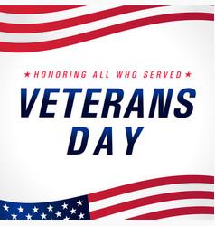 Veterans day november 11 usa flag banner vector