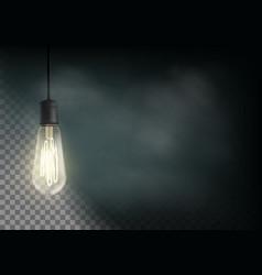Vintage light bulb is glowing in the dark vector