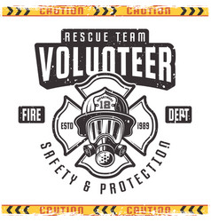 Volunteer retro emblem for fire department vector