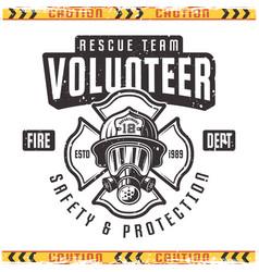 Volunteer retro emblem for fire department vector