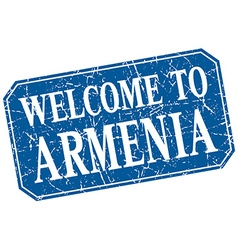 Welcome to Armenia blue square grunge stamp vector