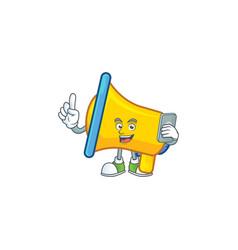 With phone yellow loudspeaker cartoon character vector
