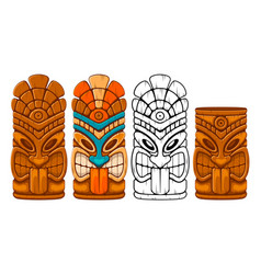 wooden tiki mask set vector image