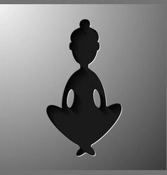 yoga lotus position silhouette shape vector image