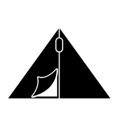 Black icon camping tent cartoon vector