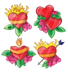 Cartoon hearts with fire for design vector image