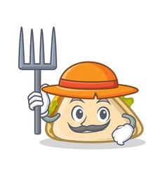 farmer sandwich character cartoon style vector image vector image