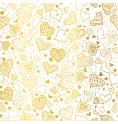 golden doodle hearts seamless pattern vector image