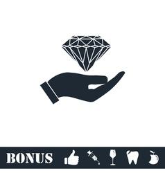 Hand and diamond icon flat vector image