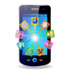 mobile and icons vector image