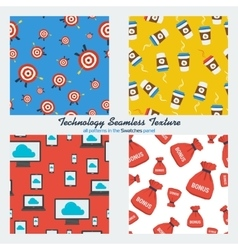 Set of four technology seamless patterns vector image vector image