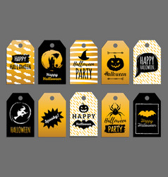 set of tags and labels with happy halloween vector image