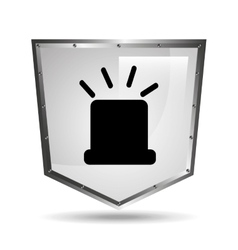 symbol alert alarm shield steel design vector image