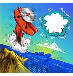 airplane crash pop art vector image