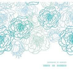 blue line art flowers horizontal frame seamless vector image