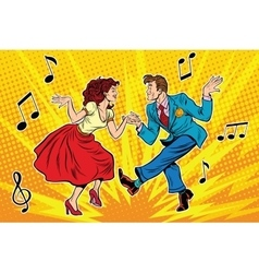 couple man and woman dancing vintage dance vector image