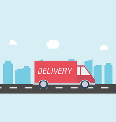 delivery car on the road with city background vector image vector image