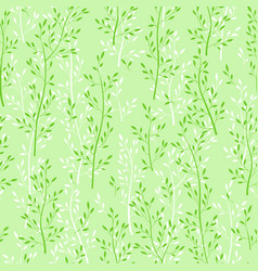 green floral seamless wallpaper with herbs vector image