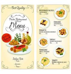 Italian pasta restaurant menu card template vector image