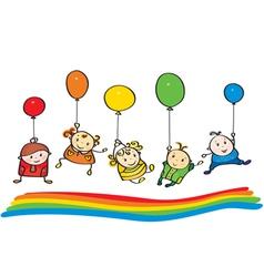 kids rainbow vector image