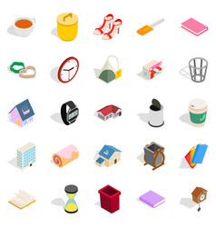 peasant house icons set isometric style vector image vector image