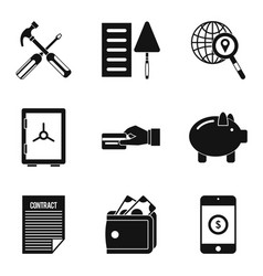 trade union icons set simple style vector image