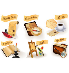 Antique icons collection for website vector image vector image