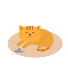 Cute sleeping orange cat lying on carpet rug mat vector image vector image