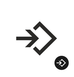 enter or login black simple icon vector image vector image