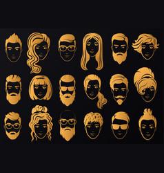 golden logo of luxury men with stylish vector image vector image