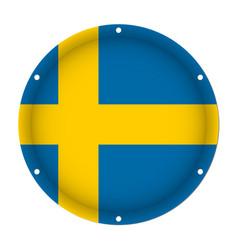 Round metallic flag of sweden with screw holes vector
