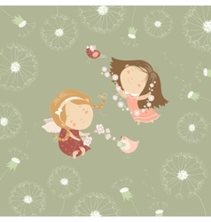 Two little angels with flowers vector image vector image