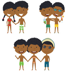 beach african-american people standing and vector image vector image