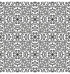 Black graphic flower pattern on white background vector image vector image